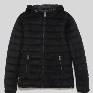 Zara mens  black faux suede puffer jacket
